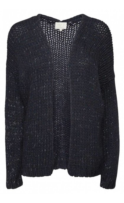 Minus Saga Knit Cardigan Black Iris Melange
