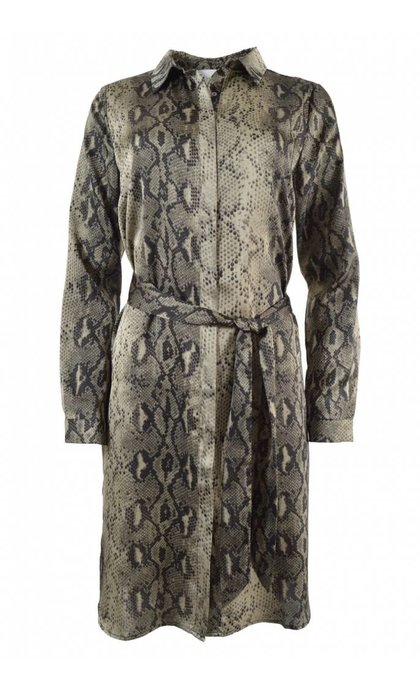 Neo Noir Sally Snake Shirt Dress Dusty Army