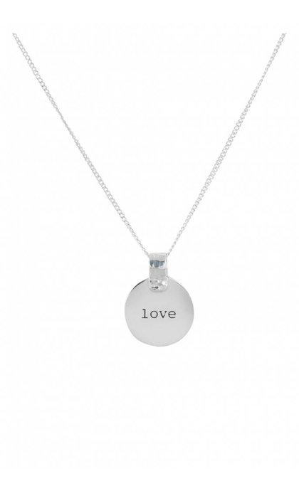 Anna + Nina Amy Coin Necklace Love Silver