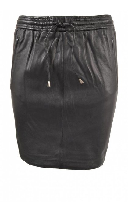 Second Female Ivana Leather Skirt Black