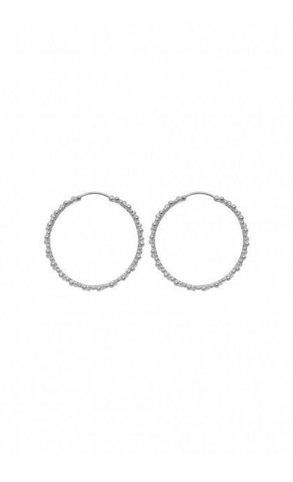 Anna + Nina Cluster Hoop Earring Brass Silverplated