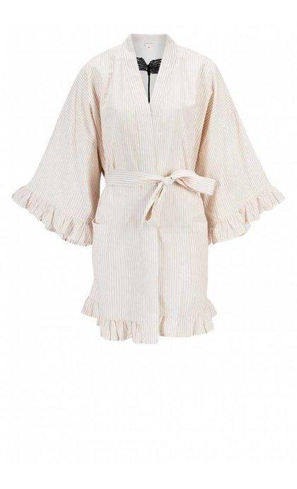 Anna + Nina Kimono Short Dune Desert & Oasis Off White Beige Stripe