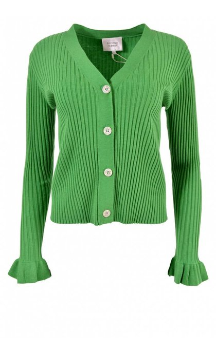 Second Female Mariella Knit Cardigan Medium Green