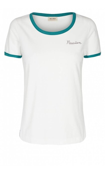 Mos Mosh Sina O-Neck Tee White With Pool Green