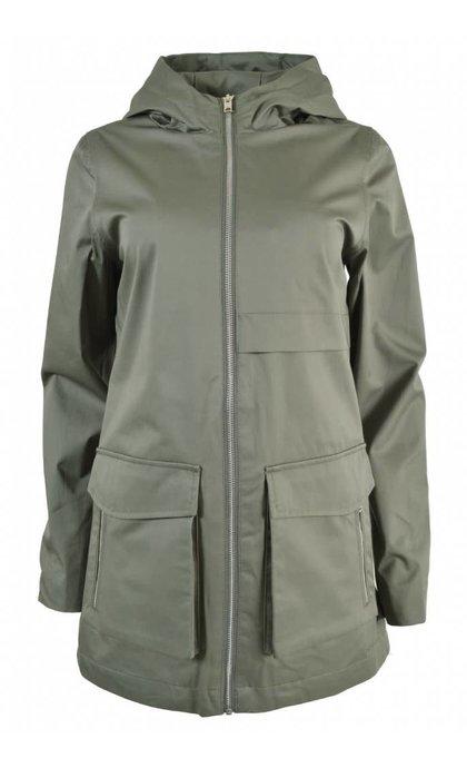 Elvine Mona Summer Coat  Bonded Satin Eucalyptus