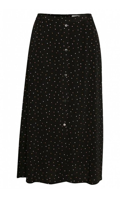 Gestuz Harper Skirt Black Purple Dot
