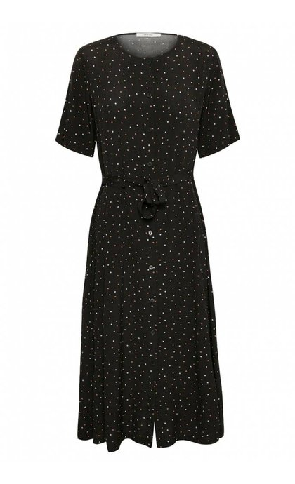 Gestuz Harper Midi Dress Black Purple Dot
