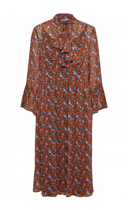 Gestuz Rosanna Long Dress Small Red Rose