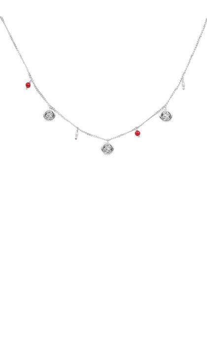 Anna + Nina Serpent Necklace Silver