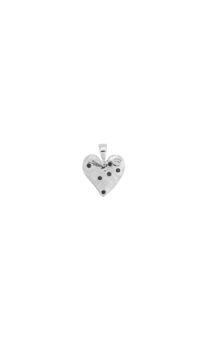 Anna + Nina Heart Necklace Charm Brass Silverplated
