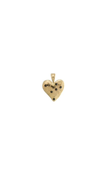Anna + Nina Heart Necklace Charm Brass Goldplated