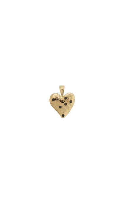 Anna + Nina Heart Necklace Charm Brass Goldplated