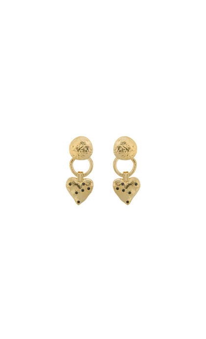 Anna + Nina Heart Earring Brass Goldplated