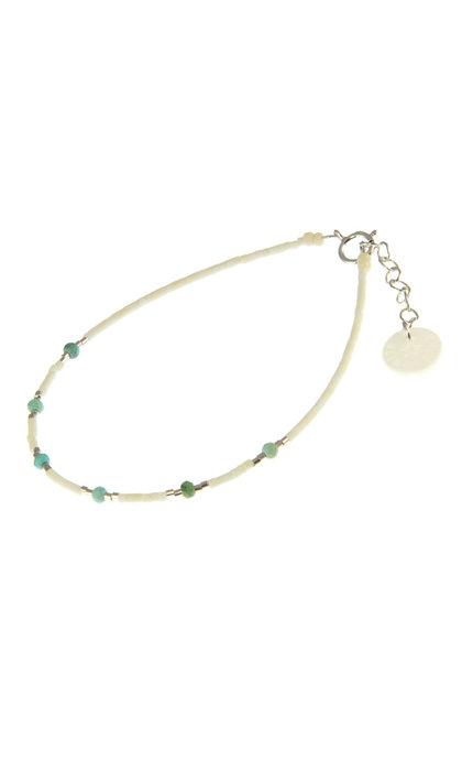 Blinckstar 925 6X Mini Rondel Arizona Turquoise Matte White Beads