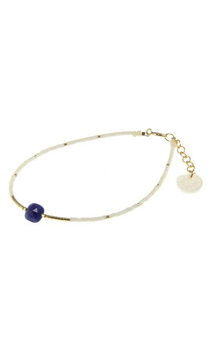 Blinckstar GF Blue Sodolite Faceted Cushion GF White Matte Beads