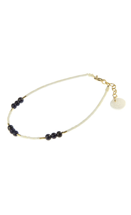 Blinckstar GF Matte White Mini Beads Dark Blue Lapis Lazuli