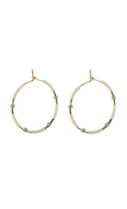 Blinckstar GF Hoop 20mm Matte White Beads GF Turquoise