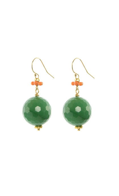 Blinckstar GF Hook Peach Epoxy Faceted Green Candy Jade 16mm Beads