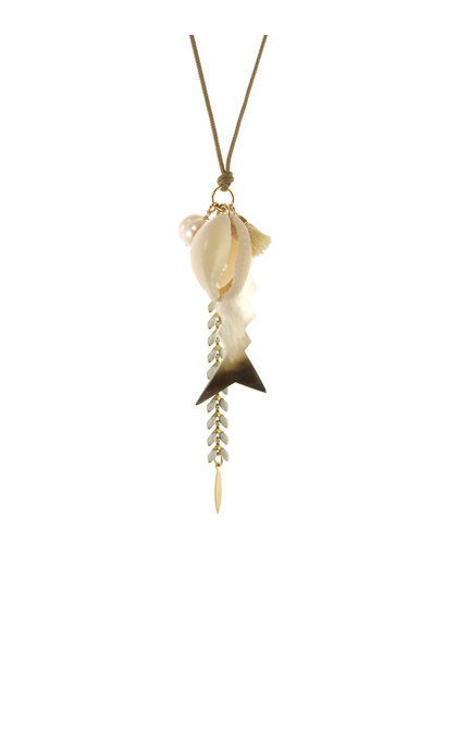 Blinckstar GF Tan Cord Fish Shell Cowrie Pearl Tassle White Fishbone