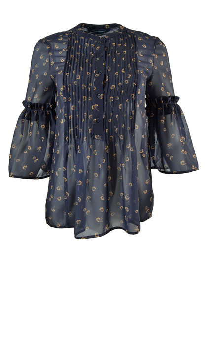 French Connection Mahi Sheer Pleated Blouse Utility Blue/Gold