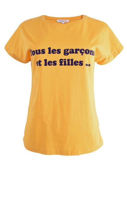 La Petite Francaise T-shirt Theophille Safran Flock Marine