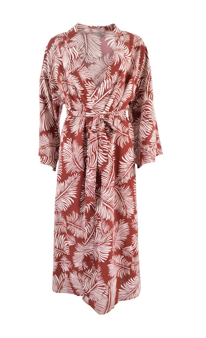Amuse Society Tropicana Kimono Black Sangria L.S.