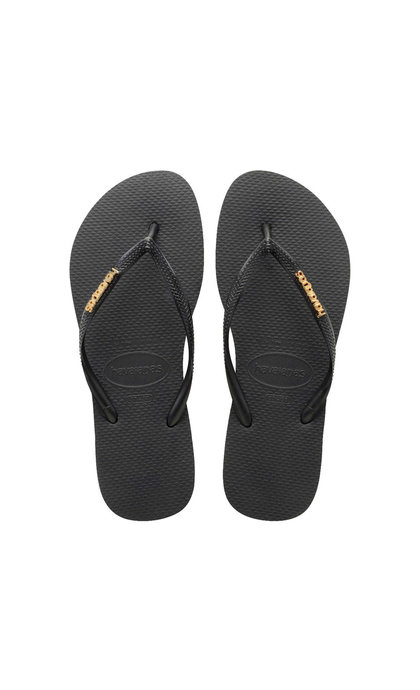 Havaianas Slim Logo Metallic Black Gold