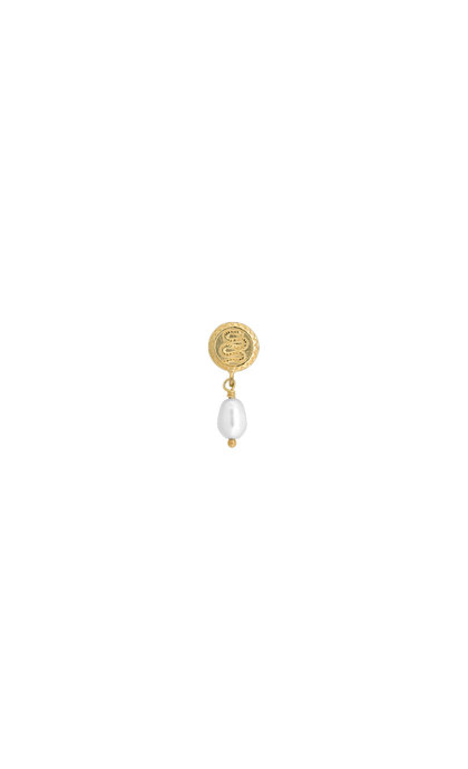 Anna + Nina Single Pearl Serpent Earring Silver Goldplated