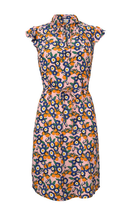 Modstrom Omara Print Dress Tangerine Flower