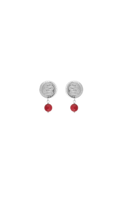 Anna + Nina Coral Serpent Earring Silver