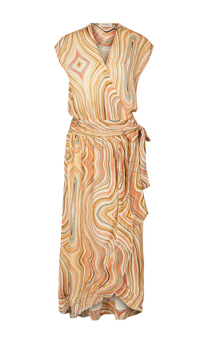 Mos Mosh Alexa Swirl Dress Sun Orange Printed