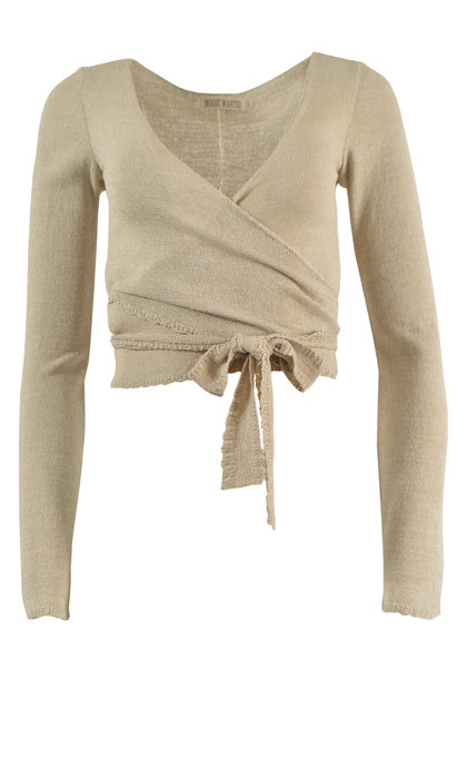 Moost Wanted Zina Knitted Wrap Top Beige