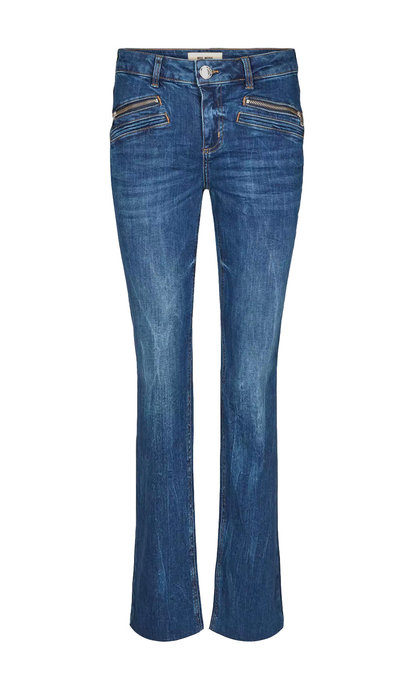 Mos Mosh Simone Zip Long Jeans Blue Denim