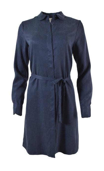 Another Label Peri Dress L/S Shiny Twill Black Iris