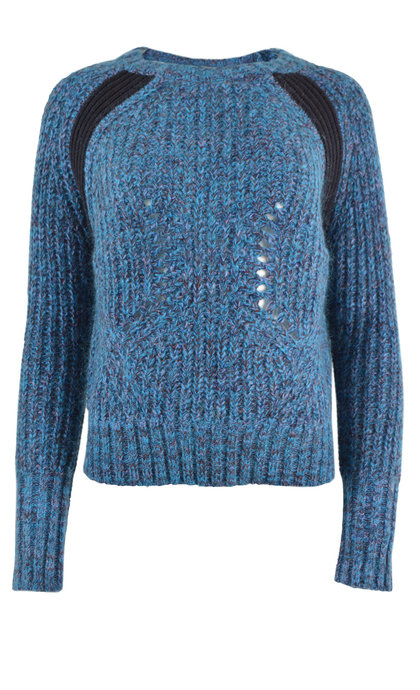 Leon and Harper Nina Blue Round Collar Sweater
