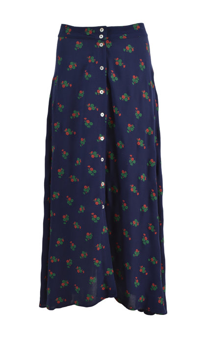 Leon and Harper Jacinthe Flower Navy Long Skirt