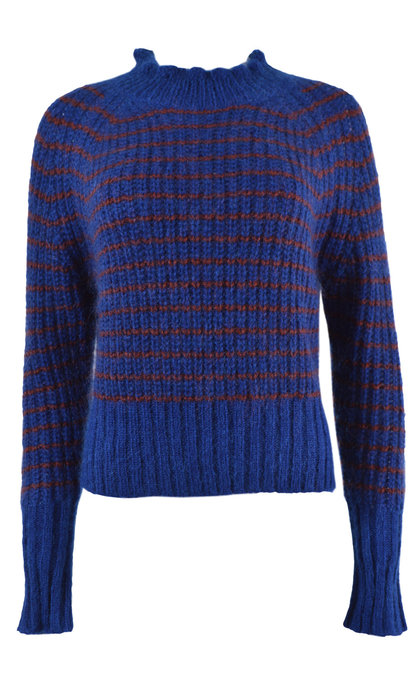 Leon and Harper Mistico Stripes Blue Round Collar Sweater