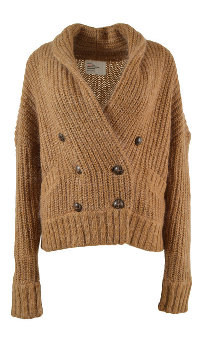 Leon and Harper Miaou Plain Camel V Collar Cardigan