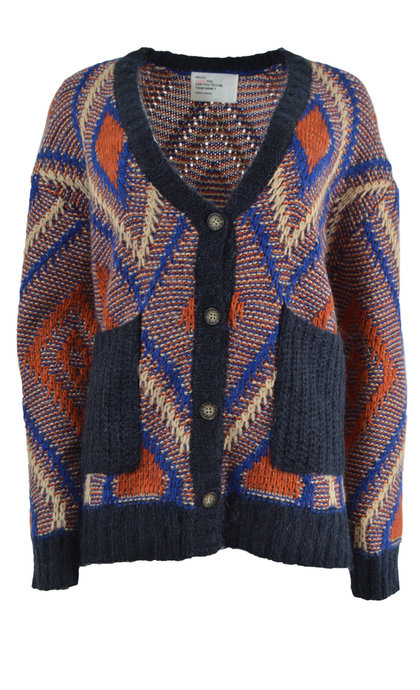 Leon and Harper Lumiere Azteque Blue Collar Cardigan