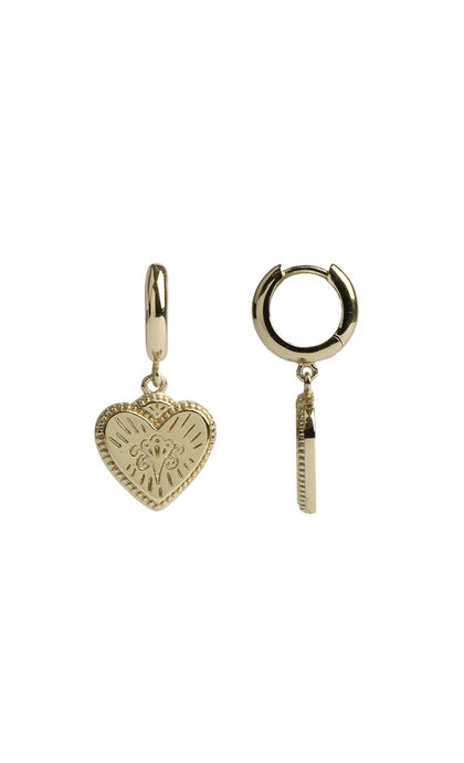 All the Luck in the World Charm Earrings Burst Heart Goldplated