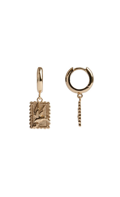 All the Luck in the World Charm Earrings Hummingbird Rectangle Goldplated