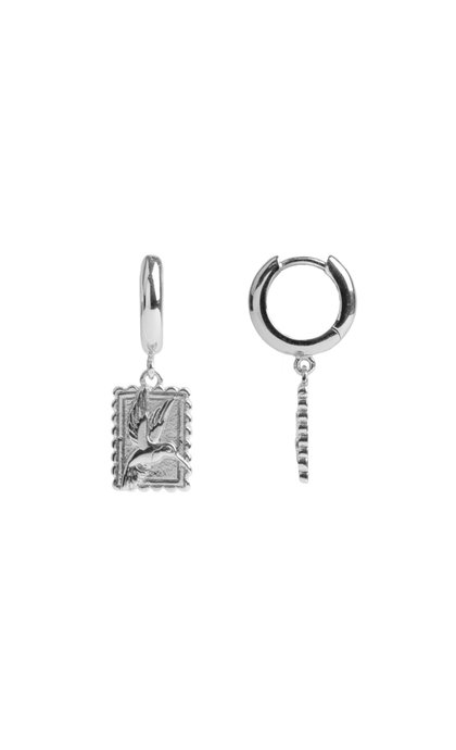 All the Luck in the World Charm Earrings Hummingbird Rectangle Silver