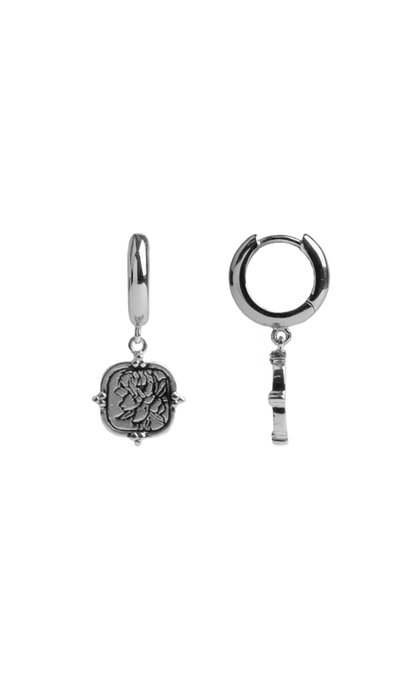 All the Luck in the World Charm Earrings Peony Square Silver