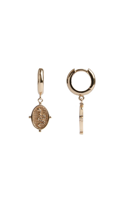 All the Luck in the World Charm Earrings Snake Oval Goldplated