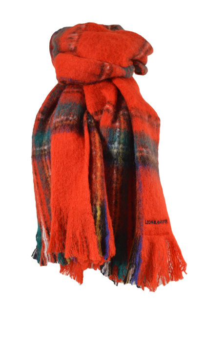 Leon and Harper Elliott Tartan Red Scarf
