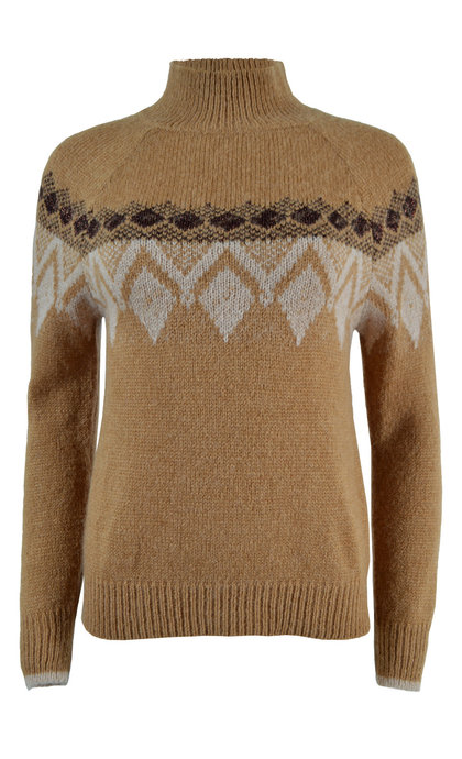 Indi & Cold Intarsia Knit Diamond Jumper With Lurex Camel