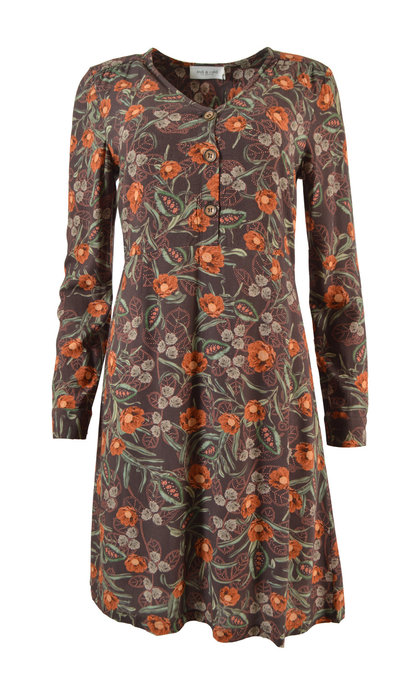 Indi & Cold Floral Loose V-Neck Dress Cafe