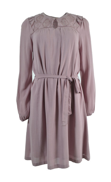 Indi & Cold Loose Belted Dress With Matching Embroidery