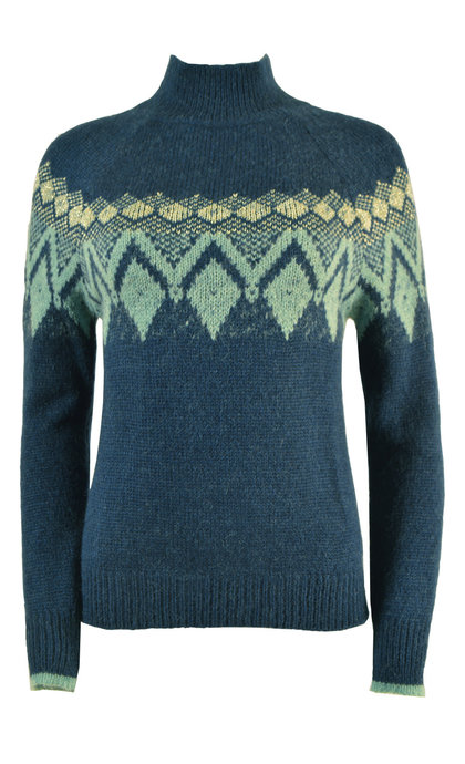 Indi & Cold Intarsia Knit Diamond Jumper With Lurex Jade
