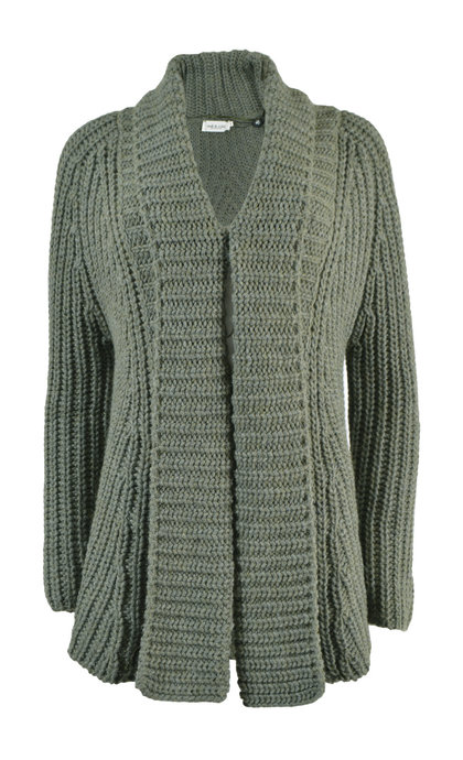 Indi & Cold Chunky Knit Jacket With Decrease Khaki